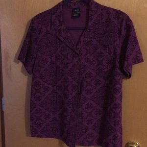 NWOT Basic Editions Paisley button up blouse.